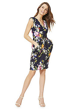 Mela London Floral Print Belted Dress - Blue