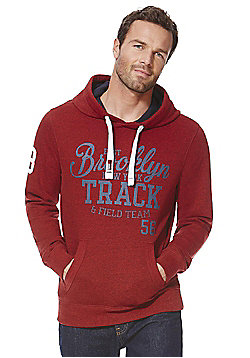 F&F Collegiate Logo Marl Hoodie - Red