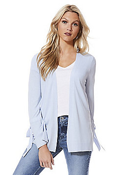 F&F Tie Sleeve Open Front Cardigan with As New Technology - Pale blue