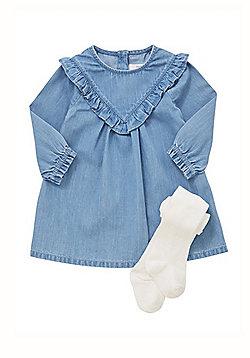 F&F Frill Detail Denim Dress with Tights - Blue