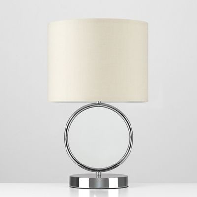 MiniSun Lavoisier 30cm Touch Dimmer LED Table Lamp - Black Chrome & Beige - 3000K