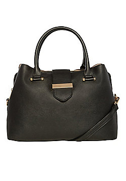F&F Triple Compartment Top Handle Tote Bag Black One Size