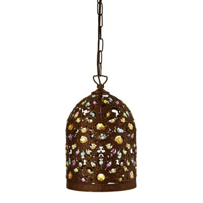 MOROCCAN - 1 LIGHT CYLINDER PENDANT ANTIQUE BRONZE AND MULTI-COLOURED ACRYLIC DECORATION