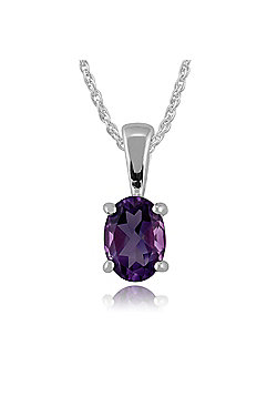 Gemondo 9ct White Gold 0.63ct Oval Cut Amethyst Classic Pendant on Chain