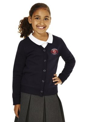 Girls Embroidered Cotton Blend School Sweatshirt Cardigan with As New Technology 7-8 years Navy blue