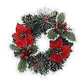Poinsettia Christmas Wreath, 30cm