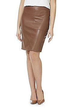 Vila Faux Leather Pencil Skirt - Tan