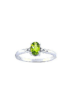QP Jewellers Diamond & Peridot Allure Ring in 14K White Gold