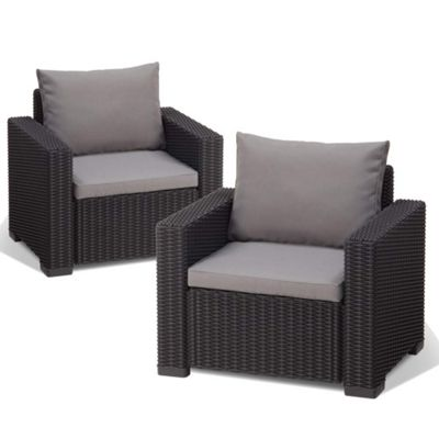Allibert California Pair of Chairs - Graphite Grey