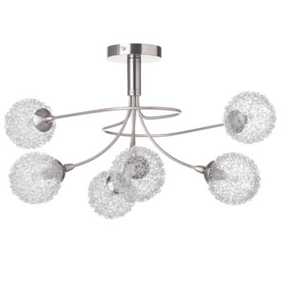 Litecraft Globo 6 Bulb Semi Flush Ceiling Light, Satin Nickel