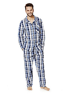 F&F Checked Pyjamas - Blue