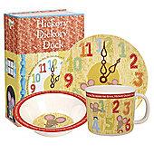 Children's Melamine 3pcs Breakfast Set - Hickory Dickory Dock, Children's Melamine Sets, Children's Breakfast Sets