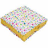 Homescapes Cotton Multi Coloured Polka Dot Floor Cushion, 50 x 50 cm