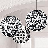 Black Damask Paper Lanterns - 24cm