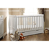 Obaby Stamford Cotbed/Drawer/Cot Top Changer/All Weather Sprung Mattress - White