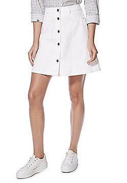 Noisy May A-Line Denim Skirt - White