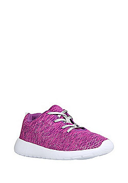 F&F Knitted Metallic Lace-Up Trainers - Purple & Pink