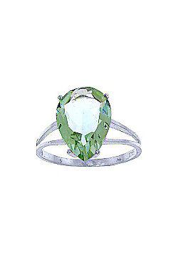QP Jewellers 5.0ct Green Amethyst Pear Drop Ring in 14K White Gold