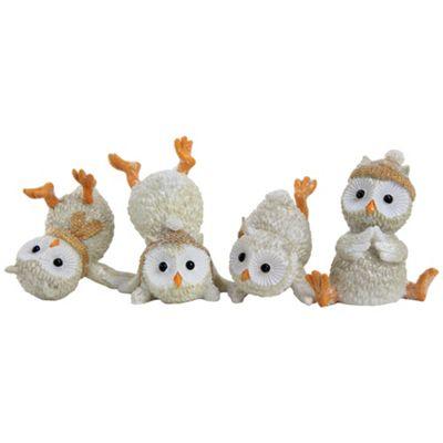 Set of 4 Glittery Polyresin Winter Owl Christmas Ornaments