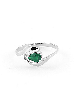 QP Jewellers Diamond & Emerald Flare Ring in 14K White Gold