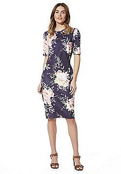 F&F Floral Print Scuba Dress - Navy & Multi