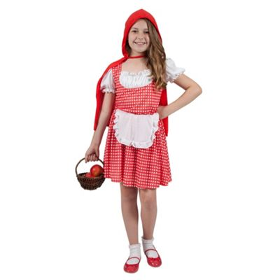 Storybook Red Riding Hood Girls Fancy Dress Costume With Dress, Apron & Cape-3-4 Years