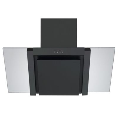 Cookology ANG905BK Designer Extractor Fan | 90cm Angled Glass Kitchen Chimney Cooker Hood in Black