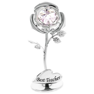 Beautiful Best Teacher Silver Plated Rose Gift with Pink Swarovski Crystal Glass