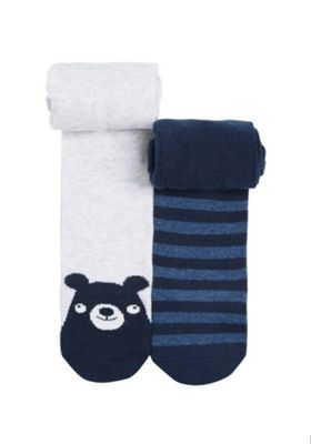 F&F 2 Pair Pack of Bear and Striped Tights Multi 12-18 months