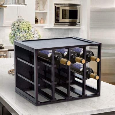 Homcom 12 Bottle Wood Wine Rack Stackable Cube Drink Holder Tabletop - Dark Brown