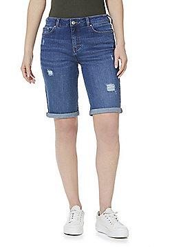 F&F Mid Rise Knee Length Denim Shorts - Mid Wash