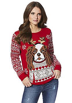 F&F Spaniel Dog Christmas Jumper - Red