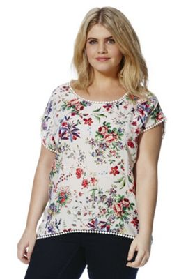 Samya Pom Pom Trim Floral Print Plus Size Top 28 Multi