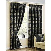 Oakley Pencil Pleat Curtains, Black 117x137cm