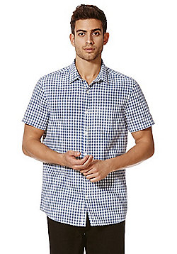 F&F Gingham Linen Blend Short Sleeve Shirt - Blue