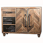 Natural Fir Wood & Iron 3 Drawer 2 Door Unit