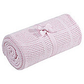 Tesco Moses Basket Cellular Baby Blanket, Pink