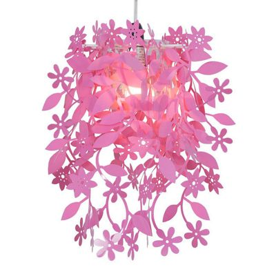 Leaves & Flowers Ceiling Pendant Light Shade, Pink