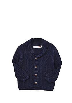 Minoti Cable Knit Shawl Collar Cardigan - Navy