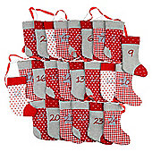 Red & Grey Fabric Sock 250cm Washing Line Christmas Advent Calendar