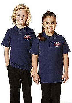 Unisex Embroidered School Polo Shirt - Navy