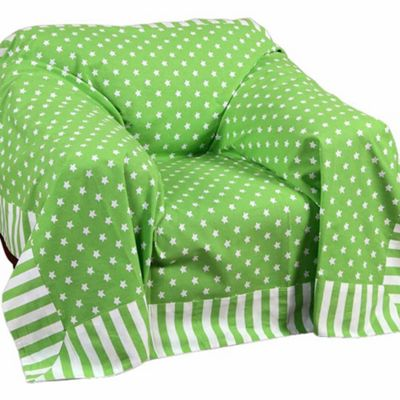 Homescapes Cotton Stars and Stripes Decorative Green Sofa Throw