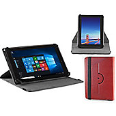 Navitech Red Faux Leather Case Cover With 360 Rotational Stand For The Windows Connect 9 Tablet