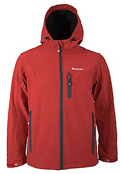 Bern Breathable Inner Microfleece Adjustable Hood Cuffs Hem Softshell Jacket - Red