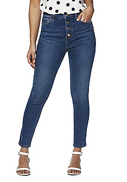 F&F Button Fly Super High Rise Skinny Jeans - Mid Wash