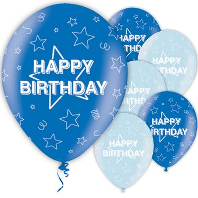 Happy Birthday Blue 11 inch Latex Balloons - 25 Pack