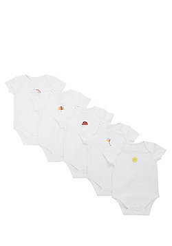 F&F 5 Pack of Short Sleeve Bodysuits - White & Multi