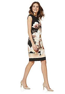 Roman Originals Floral Placement Print Dress - Black multi