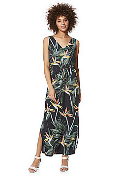 Only Tropical Print Sleeveless Maxi Dress - Black