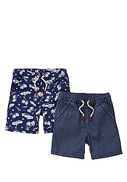 F&F 2 Pack of Drawstring Shorts - Blue